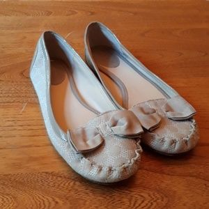 Kate Spade Taupe Fabric and Patent Flat